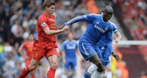 Chelsea Demba Ba scoring against Liverpool 2014