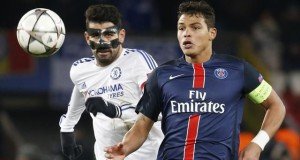 Diego Costa and Thiago Silva Chelsea vs PSG Champions League