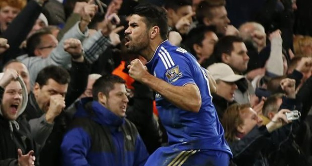 Diego Costa scoring Manchester United